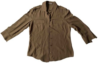 Alexander McQueen Khaki Silk Top for Women