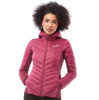 Berghaus Womens Terhra Stretch Hooded Down Jacket Dark Pink/Dark Pink