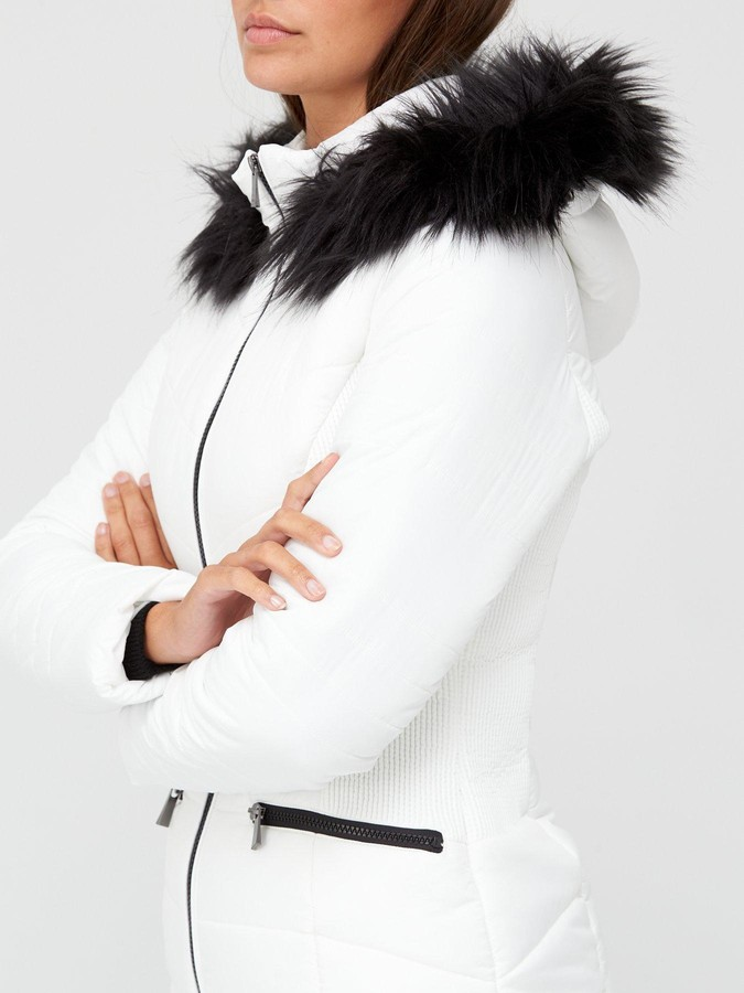 Thumbnail for your product : Very Value Short Faux Fur Trim Padded Jacket - White