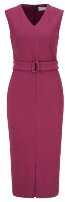 HUGO BOSS Sleeveless Shift Dress In Stretch Twill With Belted Waist - Purple