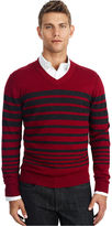 Kenneth Cole Reaction Sweater, Engineered Striped V Neck Sweater