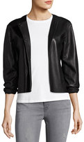 J Brand Jeans Cecilia Snap-Front Leather Jacket, Black