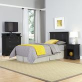 Home Styles Bedford 3-Piece Twin Headboard, Nightstand and Media Chest Set in Black