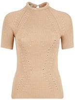 Fendi Short Sleeve Ribbed Knit Sweater