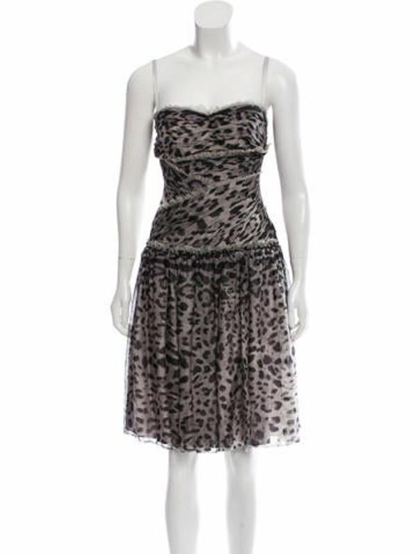 Dolce & Gabbana Printed Silk Dress w/ Tags Grey