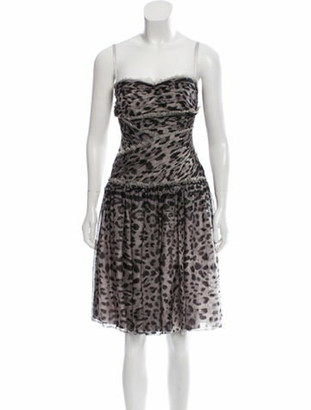 Dolce & Gabbana Printed Silk Dress w/ Tags Grey