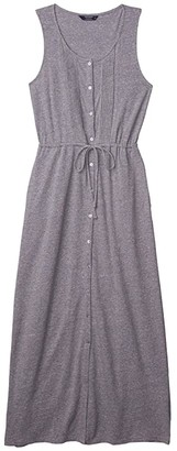 Lucky Brand Knit Pin Tuck Midi Dress (Medium Heather Grey) Women's Clothing