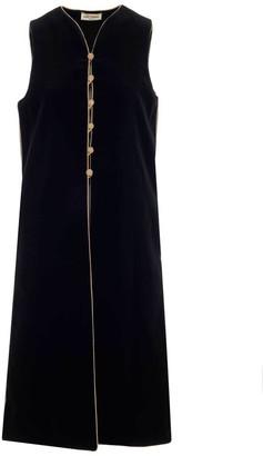 Saint Laurent Sleeveless Long Velvet Gillet