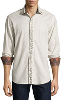 Robert Graham Carnevale Long-Sleeve Embroidered Sport Shirt, Beige