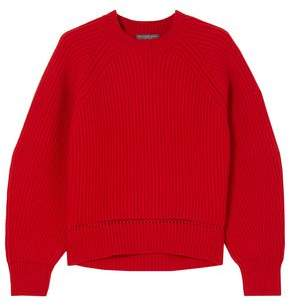 Alexander McQueen Pointelle-trimmed Ribbed Wool And Cashmere-blend Sweater