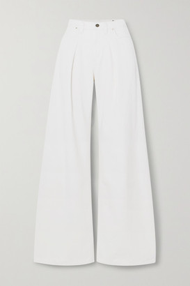 Gold Sign Net Sustain Pleated High-rise Wide-leg Jeans - Cream