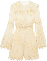 Zimmermann Tropicale Antique Lace-trimmed Embroidered Silk-georgette Playsuit - Ivory