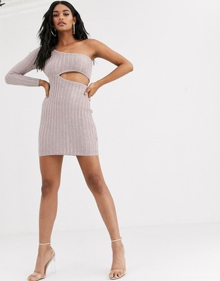 ASOS DESIGN metallic knit cut out one shoulder mini dress