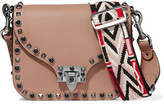 Valentino Guitar Rockstud Rolling Embellished Textured-leather Shoulder Bag - Peach