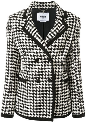 MSGM Double-Breasted Houndstooth Blazer