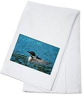 Squam Lake, New Hampshire - Loon with Chick (100% Cotton Absorbent Kitchen Towel)