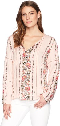 Tribal Women's Long Sleeve Blouse with Decorative Tape