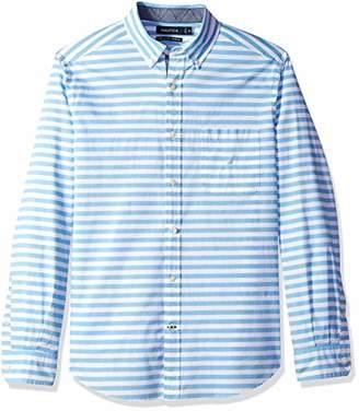 Nautica Men's Stretch Long Sleeve Horizontal Stripe Button Down Shirt