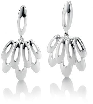 Breuning Sterling Silver Oval Fan Dangle Earrings