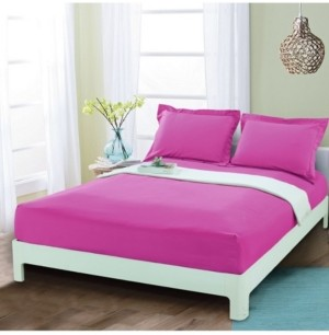 Elegant Comfort Silky Soft Single Fitted Sheet Queen Pink Bedding