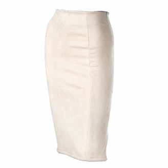 Skirts Women Suede Solid Color Pencil Female Autumn Winter High Waist Bodycon Vintage Split Thick Stretchy Beige-M