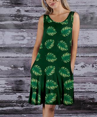 Beyond This Plane Women's Casual Dresses GRN - Green & Yellow Leaves Side-Pocket Sleeveless Dress - Women & Plus
