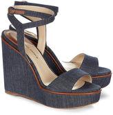 Paul Andrew Indigo Denim Laura Wedge Sandals
