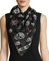 Alexander McQueen Star & Skull Silk Scarf, Black/White