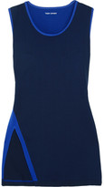 Tory Sport Two-tone Stretch-jersey Tank - Navy