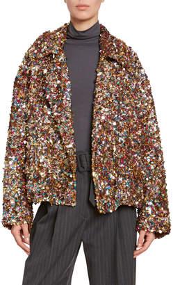 Dries Van Noten Allover Confetti-Sequined Jacket