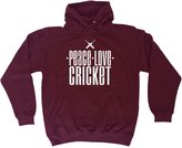 123t Slogans Sports Gift Peace Love Cricket (M - ) HOODIE