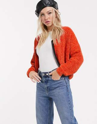 Lazy Oaf chenille cardigan with contrast zip front-Orange