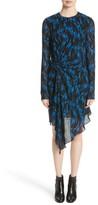 Saint Laurent Women's Flame Print Crepe Asymmetrical Dress