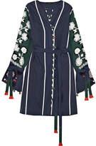 Eres Vita Kin Siciliy Embroidered Linen Dress - Navy