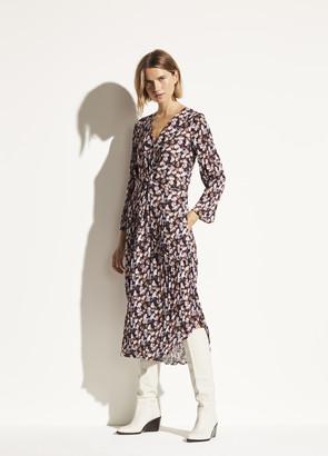 Vince Micro Painted Floral Twist Drape Dress