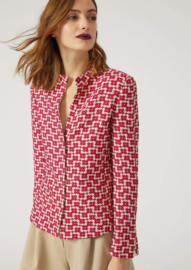 Emporio Armani Single-Breasted Silk Blend Jacket