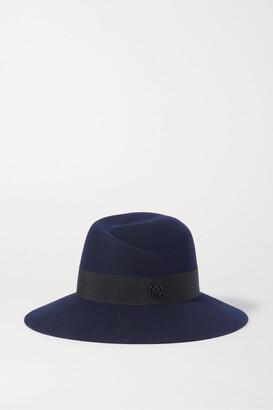 Maison Michel Virginie Grosgrain-trimmed Wool-felt Fedora - Blue