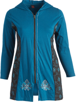 Aller Simplement Blue & Black Floral-Accent Zip-Up Hooded Jacket - Plus
