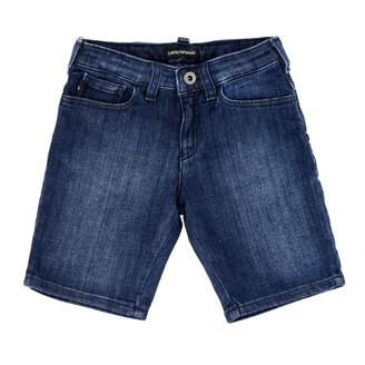 Emporio Armani Shorts In Used Denim With Logo