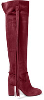 Aquazzura Tasseled Suede Over-the-knee Boots - Red