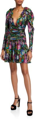 Flor Et. Al Abigail Dark Floral Metallic Voile V-Neck Ruched-Waist Dress