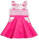 Zoë Ltd Sleeveless Lace-Trim Fit-and-Flare Scuba Dress, Pink/White, Size 7-16