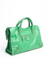 Balenciaga poker green grained leather leather 'City 12' convertible satchel
