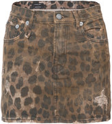 R 13 leopard print skirt - women - Cotton/Polyurethane - 24