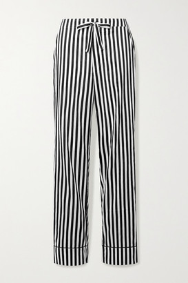 Les Girls Les Boys Piped Striped Cotton-sateen Pajama Pants - Black