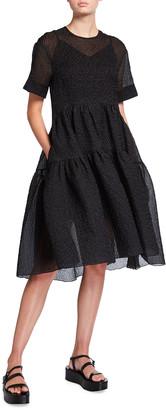 Victoria Victoria Beckham Short-Sleeve Crinkle Cocoon Dress