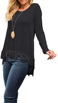SEBOWEL Women's Long Sleeve Loose Fit High Low Lace Trim Hem Blouse Tops T-shirt