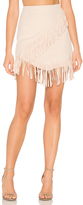 1 STATE Fringe Wrap Faux Suede Mini Skirt