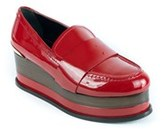 Roberto Cavalli Womens Red Patent Leather Platform Slip On.