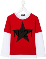 No21 Kids - star and logo print T-shirt - kids - Cotton/Spandex/Elastane - 10 yrs